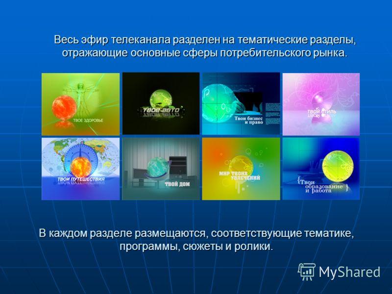 В каждом разделе размещаются, соответствующие тематике, программы, сюжеты и ролики. Весь эфир телеканала разделен на тематические разделы, отражающие основные сферы потребительского рынка.