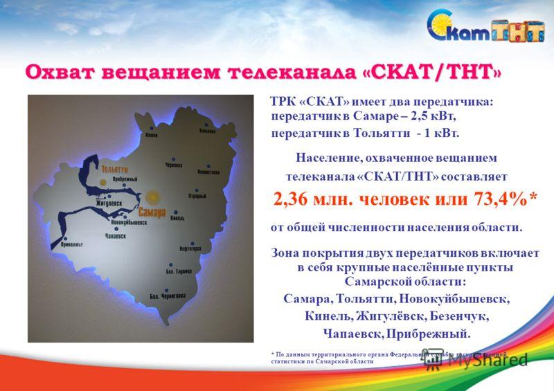 Охват вещанием телеканала «СКАТ/ТНТ» ТРК «СКАТ» имеет два передатчика: передатчик в Самаре – 2,5 кВт, передатчик в Тольятти - 1 кВт. Население, охваченное вещанием телеканала «СКАТ/ТНТ» составляет 2,36 млн. человек или 73,4%* от общей численности нас