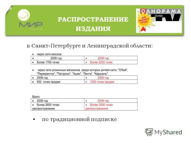 РАСПРОСТРАНЕНИЕ ИЗДАНИЯ в Санкт-Петербурге и Ленинградской области: по традиционной подписке