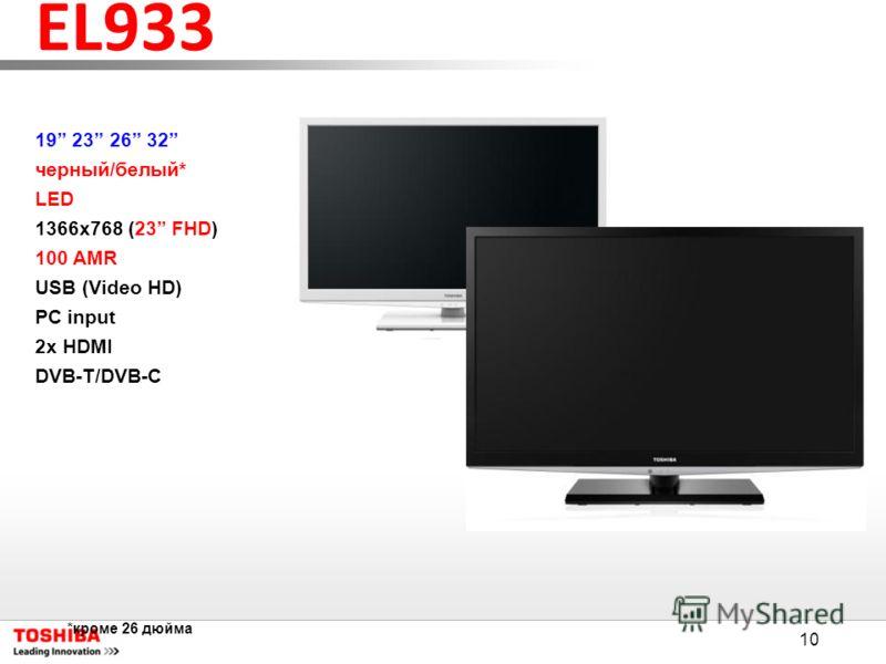 10 EL933 19 23 26 32 черный/белый* LED 1366x768 (23 FHD) 100 AMR USB (Video HD) PC input 2x HDMI DVB-T/DVB-C *кроме 26 дюйма