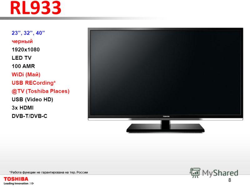 8 RL933 23, 32, 40 черный 1920x1080 LED TV 100 AMR WiDi (Май) USB RECording* @TV (Toshiba Places) USB (Video HD) 3x HDMI DVB-T/DVB-C *Работа функции не гарантирована на тер. России