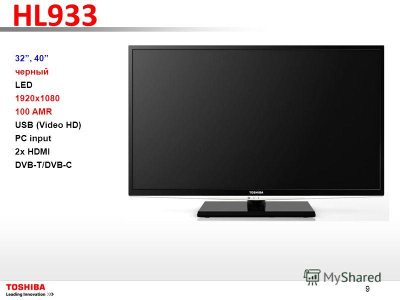 9 HL933 32, 40 черный LED 1920x1080 100 AMR USB (Video HD) PC input 2x HDMI DVB-T/DVB-C