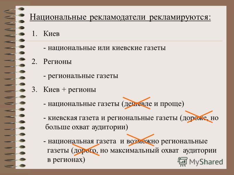Национальные рекламодатели рекламируются: 1.Киев - национальные или киевские газеты 2.Регионы - региональные газеты 3.Киев + регионы - национальные газеты (дешевле и проще) - киевская газета и региональные газеты (дороже, но больше охват аудитории) -