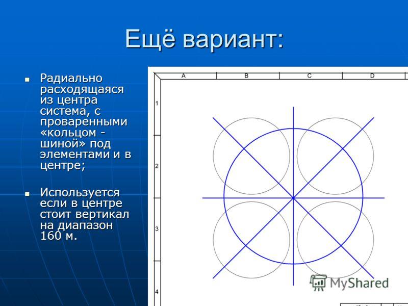 Ещё вариант: Радиально расходящаяся из центра система, с проваренными «кольцом - шиной» под элементами и в центре; Радиально расходящаяся из центра система, с проваренными «кольцом - шиной» под элементами и в центре; Используется если в центре стоит