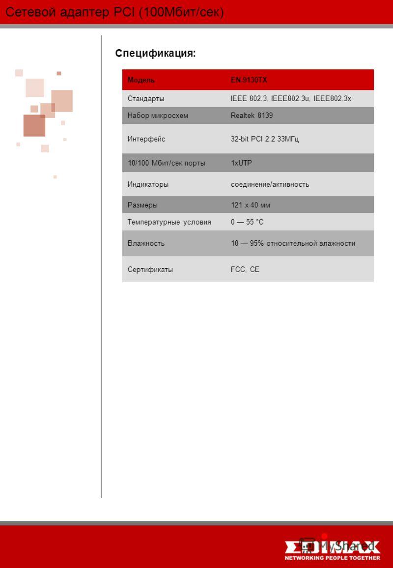Сетевой адаптер PCI (100Мбит/сек) Спецификация: МодельEN-9130TX СтандартыIEEE 802.3, IEEE802.3u, IEEE802.3x Набор микросхемRealtek 8139 Интерфейс32-bit PCI 2.2 33МГц 10/100 Мбит/сек порты1xUTP Индикаторысоединение/активность Размеры121 x 40 мм Темпер