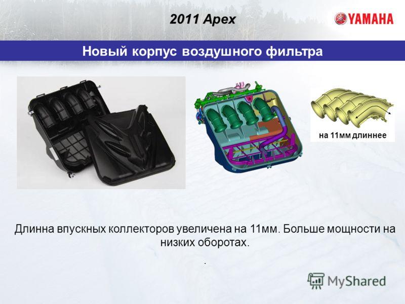 2011 Apex Новый корпус воздушного фильтра Длинна впускных коллекторов увеличена на 11мм. Больше мощности на низких оборотах.. на 11мм длиннее