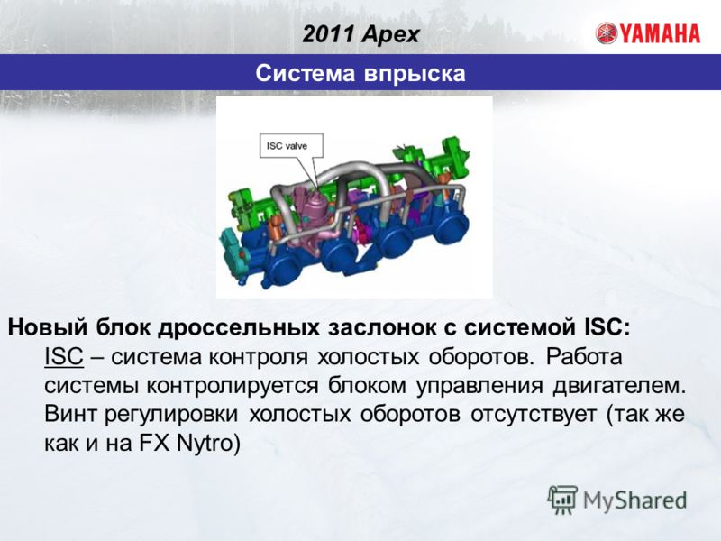 2011 Apex Система впрыска Новый блок дроссельных заслонок с системой ISC: ISC – система контроля холостых оборотов. Работа системы контролируется блоком управления двигателем. Винт регулировки холостых оборотов отсутствует (так же как и на FX Nytro)