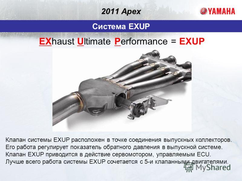 2011 Apex Система EXUP Клапан системы EXUP расположен в точке соединения выпускных коллекторов. Его работа регулирует показатель обратного давления в выпускной системе. Клапан EXUP приводится в действие сервомотором, управляемым ECU. Лучше всего рабо