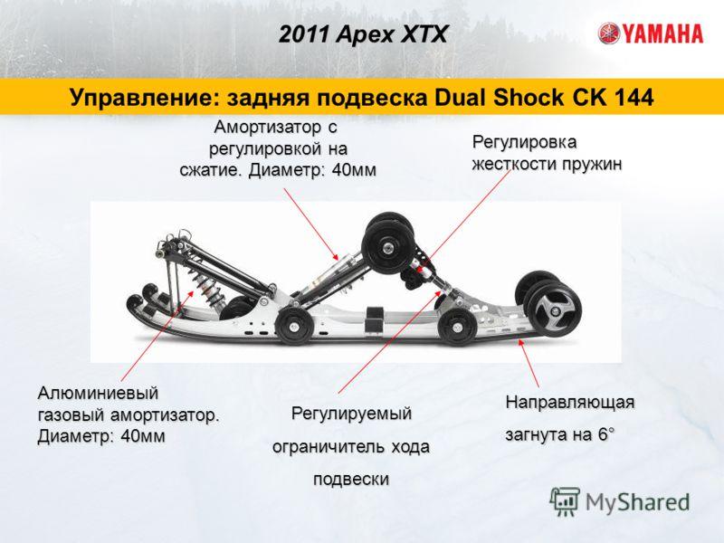 Амортизатор с регулировкой на сжатие. Диаметр: 40мм Направляющая загнута на 6° Регулируемый ограничитель хода подвески Регулировка жесткости пружин Алюминиевый газовый амортизатор. Диаметр: 40мм 2011 Apex XTX Управление: задняя подвеска Dual Shock CK