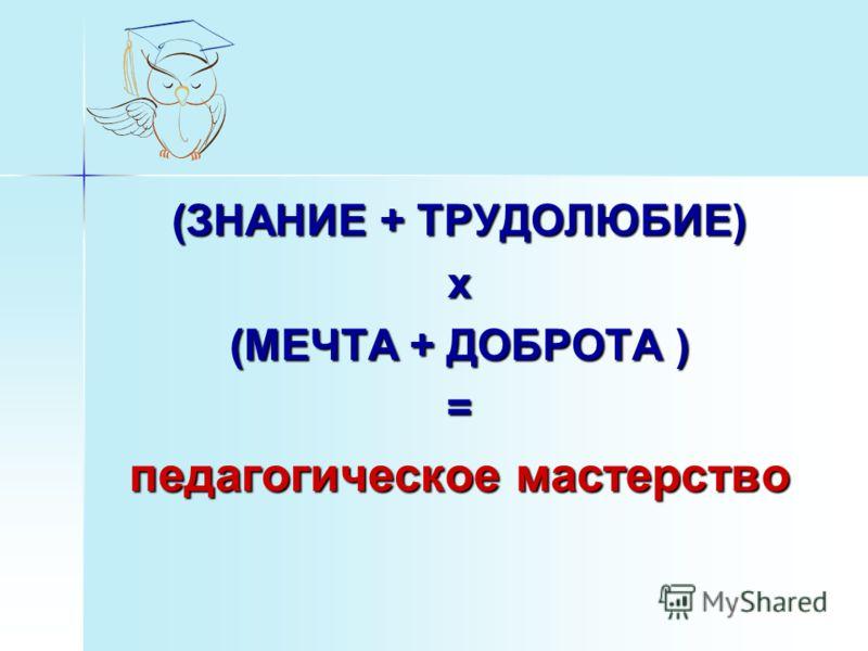 (ЗНАНИЕ + ТРУДОЛЮБИЕ) х (МЕЧТА + ДОБРОТА ) = педагогическое мастерство