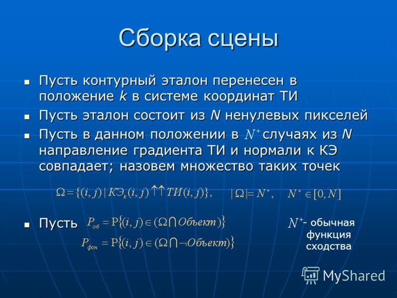 Сборка сцены Пусть контурный эталон перенесен в положение k в системе координат ТИ Пусть контурный эталон перенесен в положение k в системе координат ТИ Пусть эталон состоит из N ненулевых пикселей Пусть эталон состоит из N ненулевых пикселей Пусть в