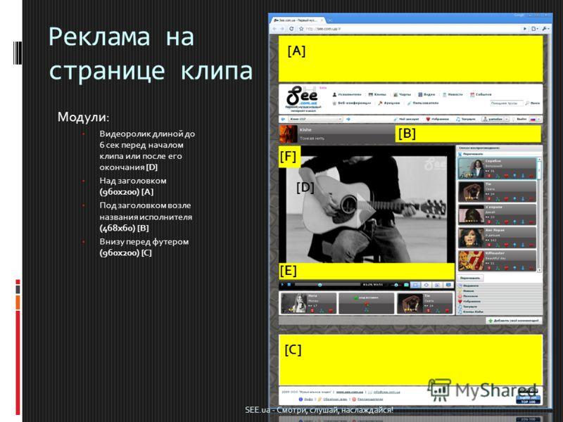 Реклама на странице клипа Модули: Видеоролик длиной до 6 сек перед началом клипа или после его окончания [D] Над заголовком (960х200) [A] Под заголовком возле названия исполнителя (468х60) [B] Внизу перед футером (960х200) [C] [A] [F] [B] [E] [C] [D]