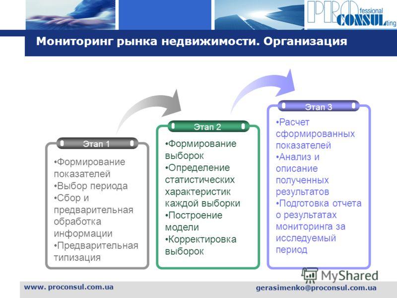 L o g o www. proconsul.com.ua gerasimenko@proconsul.com.ua Мониторинг рынка недвижимости. Организация Этап 2 Этап 3 Этап 1 Формирование показателей Выбор периода Сбор и предварительная обработка информации Предварительная типизация Формирование выбор