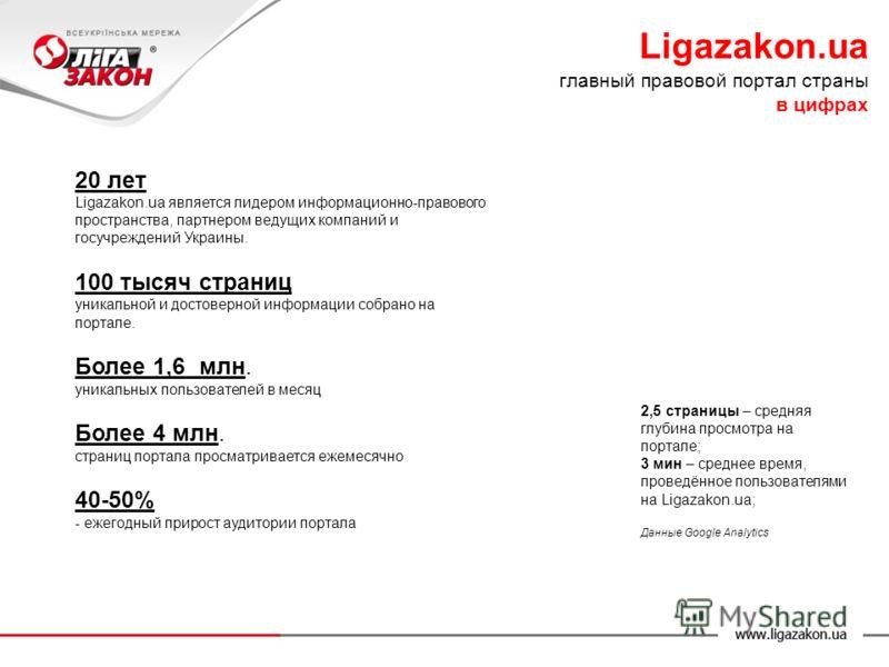 20 лет Ligazakon.ua является лидером информационно-правового пространства, партнером ведущих компаний и госучреждений Украины. 100 тысяч страниц уникальной и достоверной информации собрано на портале. Более 1,6 млн. уникальных пользователей в месяц Б