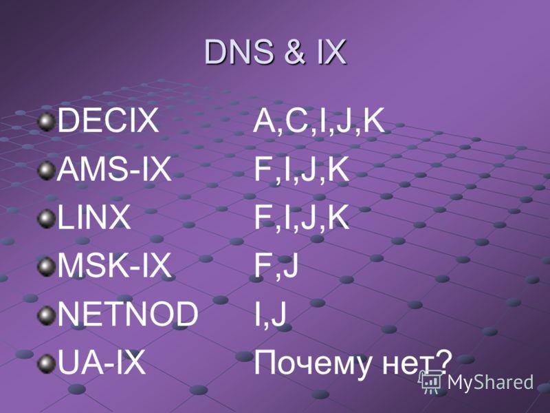 DNS & IX DECIX A,C,I,J,K AMS-IXF,I,J,K LINX F,I,J,K MSK-IX F,J NETNODI,J UA-IX Почему нет?