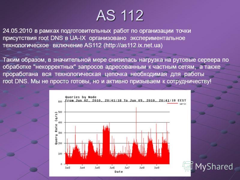 24.05.2010 в рамках подготовительных работ по организации точки присутствия root DNS в UA-IX организовано экспериментальное технологическое включение AS112 (http://as112.ix.net.ua) Таким образом, в значительной мере снизилась нагрузка на рутовые серв