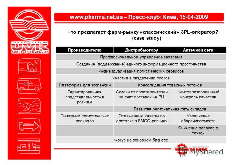 www.pharma.net.ua – Пресс-клуб: Киев, 15-04-2009 Что предлагает фарм-рынку «классический» 3PL-оператор? (case study) ПроизводителюДистрибьюторуАптечной сети Профессиональное управление запасами Создание (поддержание) единого информационного пространс