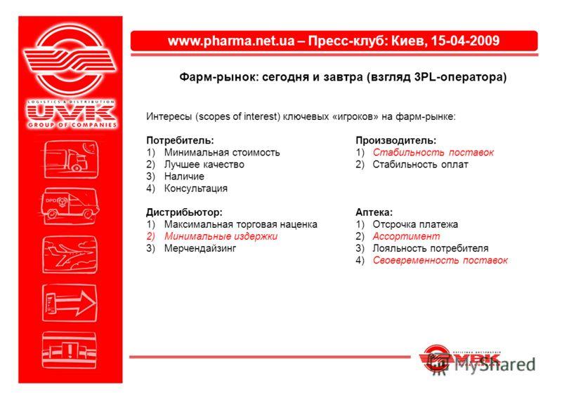 www.pharma.net.ua – Пресс-клуб: Киев, 15-04-2009 Фарм-рынок: сегодня и завтра (взгляд 3PL-оператора) Интересы (scopes of interest) ключевых «игроков» на фарм-рынке: Потребитель:Производитель: 1)Минимальная стоимость1) Стабильность поставок 2)Лучшее к
