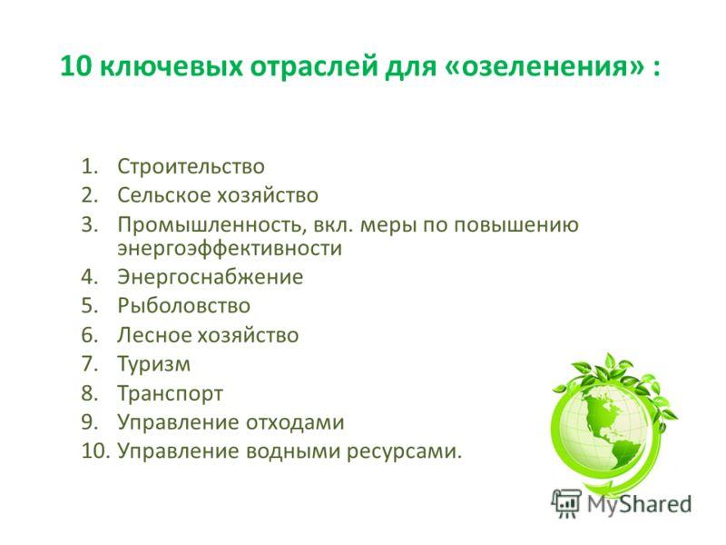 10 ключевых отраслей для «озеленения» : 1.Строительство 2.Сельское хозяйство 3.Промышленность, вкл. меры по повышению энергоэффективности 4.Энергоснабжение 5.Рыболовство 6.Лесное хозяйство 7.Туризм 8.Транспорт 9.Управление отходами 10.Управление водн