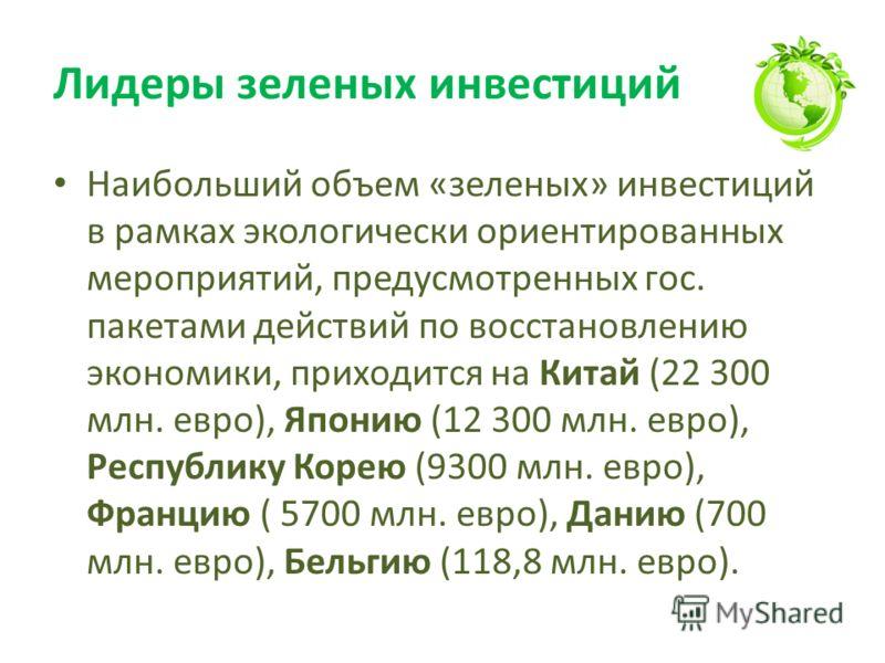 Лидеры зеленых инвестиций Наибольший объем «зеленых» инвестиций в рамках экологически ориентированных мероприятий, предусмотренных гос. пакетами действий по восстановлению экономики, приходится на Китай (22 300 млн. евро), Японию (12 300 млн. евро),