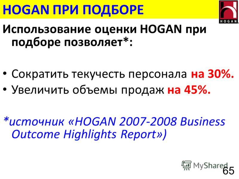 HOGAN ПРИ ПОДБОРЕ Использование оценки HOGAN при подборе позволяет*: Сократить текучесть персонала на 30%. Увеличить объемы продаж на 45%. *источник «HOGAN 2007-2008 Business Outcome Highlights Report») 65