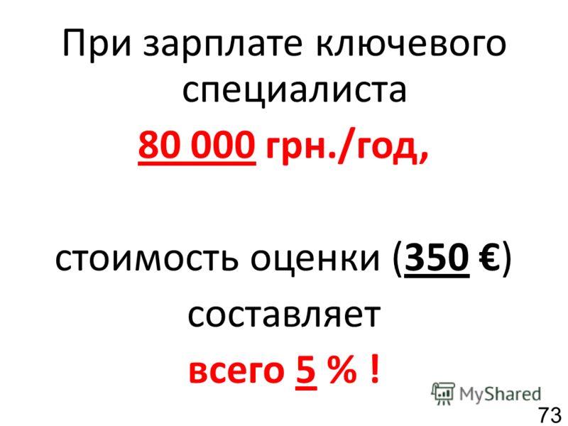 При зарплате ключевого специалиста 80 000 грн./год, стоимость оценки (350 ) составляет всего 5 % ! 73