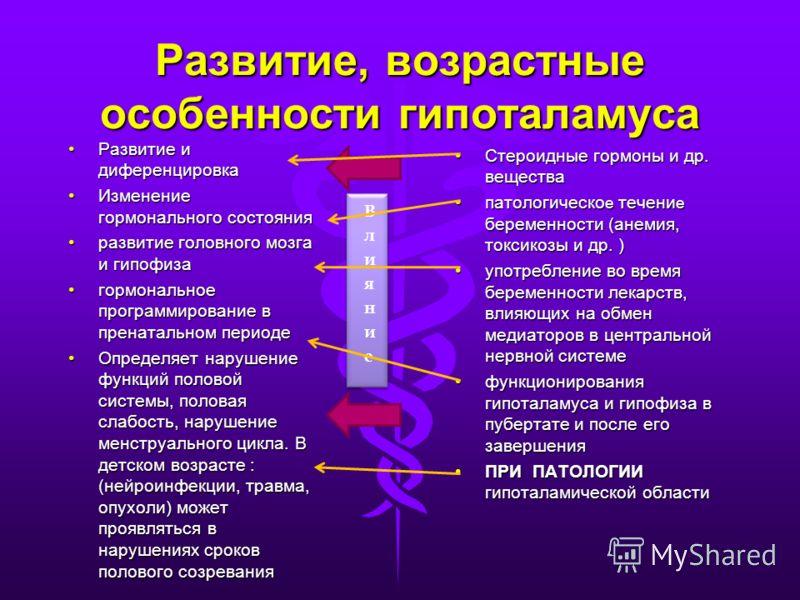 Развитие, возрастные особенности гипоталамуса Развитие и диференцировкаРазвитие и диференцировка Изменение гормонального состоянияИзменение гормонального состояния развитие головного мозга и гипофизаразвитие головного мозга и гипофиза гормональное пр