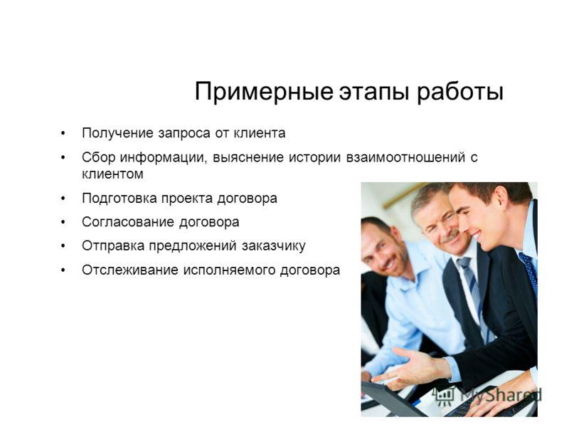Примерные этапы работы Получение запроса от клиента Сбор информации, выяснение истории взаимоотношений с клиентом Подготовка проекта договора Согласование договора Отправка предложений заказчику Отслеживание исполняемого договора