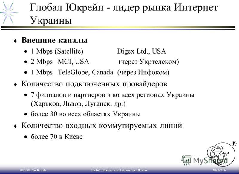 ©1998. Yu.KorzhGlobal Ukraine and Internet in Ukraine Slide2_5 Рост количества подключенных к Интернет компьютеров в Украине Количество хостов в домене.UA - более 17 тыс. Общее количество подключенных к Интернет компьютеров - более 100 тыс.