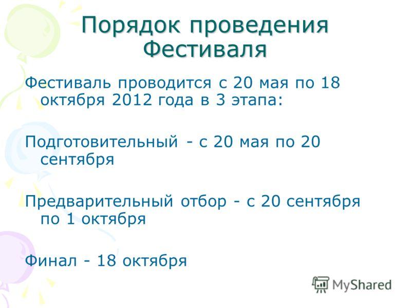 Порядок проведения Фестиваля Фестиваль проводится с 20 мая по 18 октября 2012 года в 3 этапа: Подготовительный - с 20 мая по 20 сентября Предварительный отбор - с 20 сентября по 1 октября Финал - 18 октября