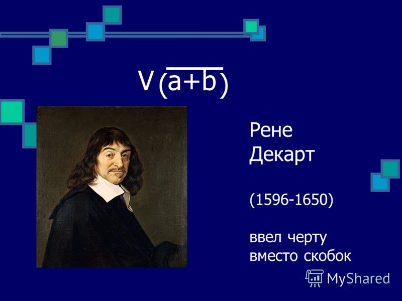 Рене Декарт (1596-1650) ввел черту вместо скобок V a+b ( )