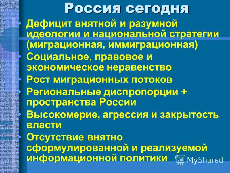 Россия сегодня Дефицит внятной и разумной идеологии и национальной стратегии (миграционная, иммиграционная) Социальное, правовое и экономическое неравенство Рост миграционных потоков Региональные диспропорции + пространства России Высокомерие, агресс