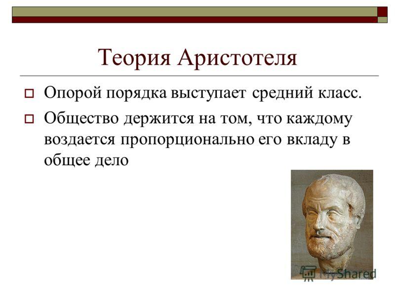 Теория Аристотеля Опорой порядка выступает средний класс. Общество держится на том, что каждому воздается пропорционально его вкладу в общее дело