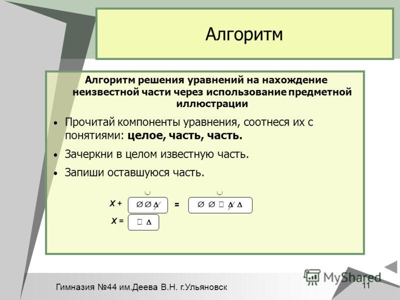 Гимназия 44 им.Деева В.Н. г.Ульяновск 11 Алгоритм Алгоритм решения уравнений на нахождение неизвестной части через использование предметной иллюстрации Прочитай компоненты уравнения, соотнеся их с понятиями: целое, часть, часть. Зачеркни в целом изве