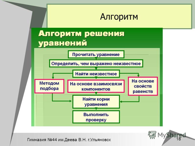 Гимназия 44 им.Деева В.Н. г.Ульяновск 18 Алгоритм