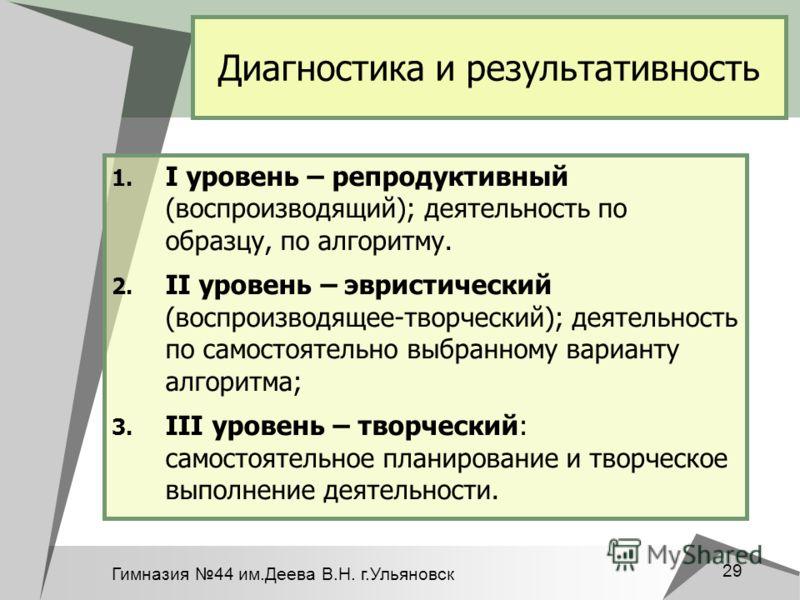 Гимназия 44 им.Деева В.Н. г.Ульяновск 29 Диагностика и результативность 1. I уровень – репродуктивный (воспроизводящий); деятельность по образцу, по алгоритму. 2. II уровень – эвристический (воспроизводящее-творческий); деятельность по самостоятельно