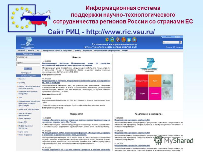 16 Информационная система поддержки научно-технологического сотрудничества регионов России со странами ЕС Сайт РИЦ - http://www.ric.vsu.ru/
