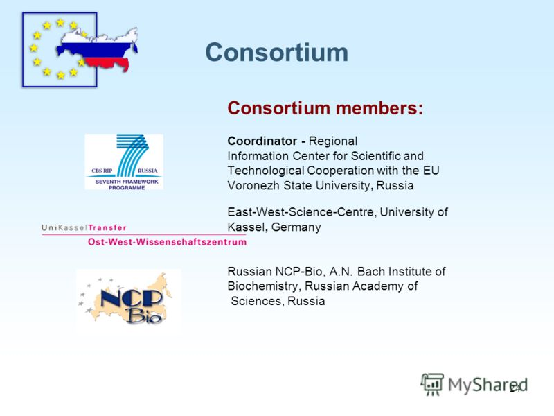 24 Consortium Consortium members: Coordinator - Regional Information Center for Scientific and Technological Cooperation with the EU Voronezh State University, Russia East-West-Science-Centre, University of Kassel, Germany Russian NCP-Bio, A.N. Bach