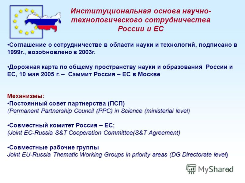 6 Институциональная основа научно- технологического сотрудничества России и ЕС Соглашение о сотрудничестве в области науки и технологий, подписано в 1999г., возобновлено в 2003г. Дорожная карта по общему пространству науки и образования России и ЕС,