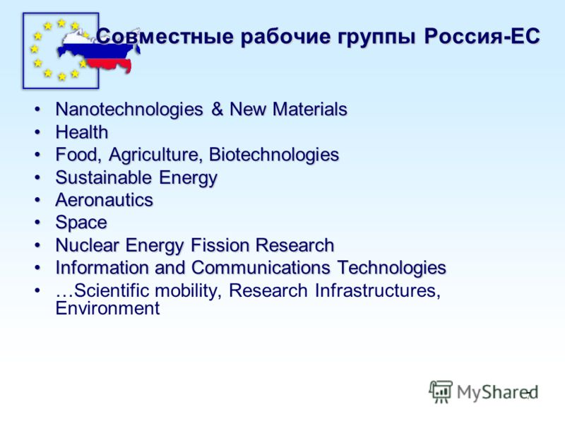 7 Совместные рабочие группы Россия-ЕС Nanotechnologies & New MaterialsNanotechnologies & New Materials HealthHealth Food, Agriculture, BiotechnologiesFood, Agriculture, Biotechnologies Sustainable EnergySustainable Energy AeronauticsAeronautics Space