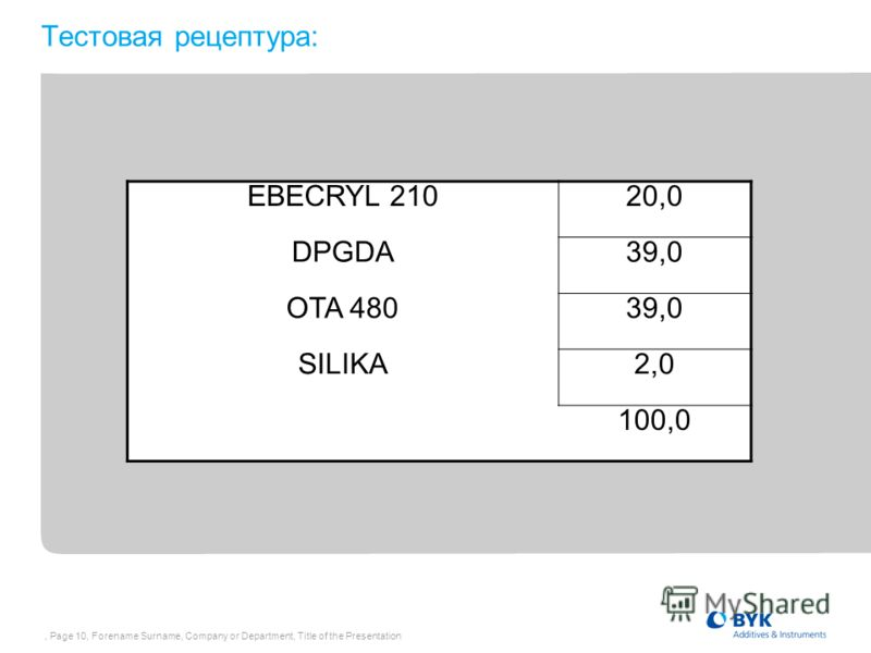 , Page 10, Forename Surname, Company or Department, Title of the Presentation Тестовая рецептура: EBECRYL 21020,0 DPGDA39,0 OTA 48039,0 SILIKA2,0 100,0