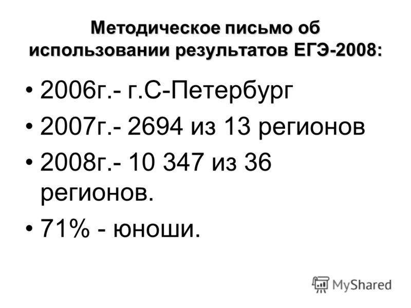 Методическое письмо об использовании результатов ЕГЭ-2008: 2006г.- г.С-Петербург 2007г.- 2694 из 13 регионов 2008г.- 10 347 из 36 регионов. 71% - юноши.