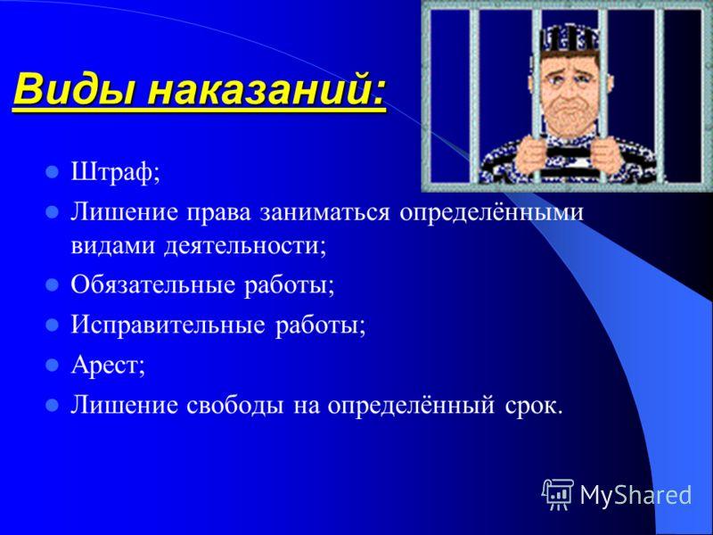 Виды наказаний: Штраф; Лишение права заниматься определёнными видами деятельности; Обязательные работы; Исправительные работы; Арест; Лишение свободы на определённый срок.