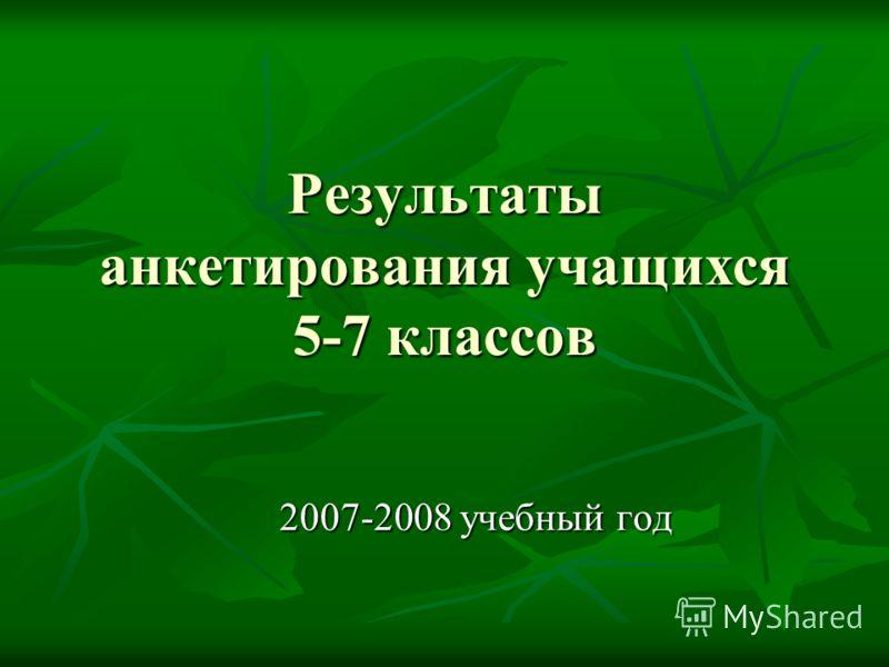 Результаты анкетирования учащихся 5-7 классов 2007-2008 учебный год