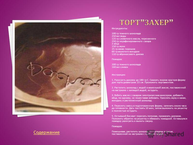 Ингредиенты 100 гр темного шоколада 250