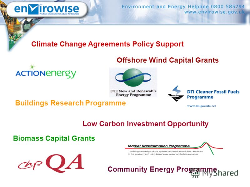 Biomass Capital Grants Offshore Wind Capital Grants Buildings Research Programme Community Energy Programme Low Carbon Investment Opportunity Climate Change Agreements Policy Support
