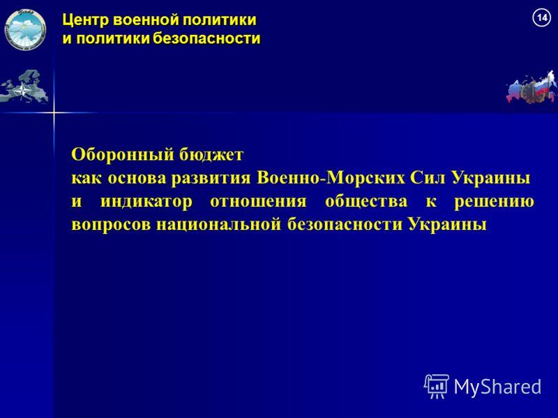 Центр военной политики и политики безопасности Оборонный бюджет как основа развития Военно - Морских Сил Украины и индикатор отношения общества к решению вопросов национальной безопасности Украины 1414