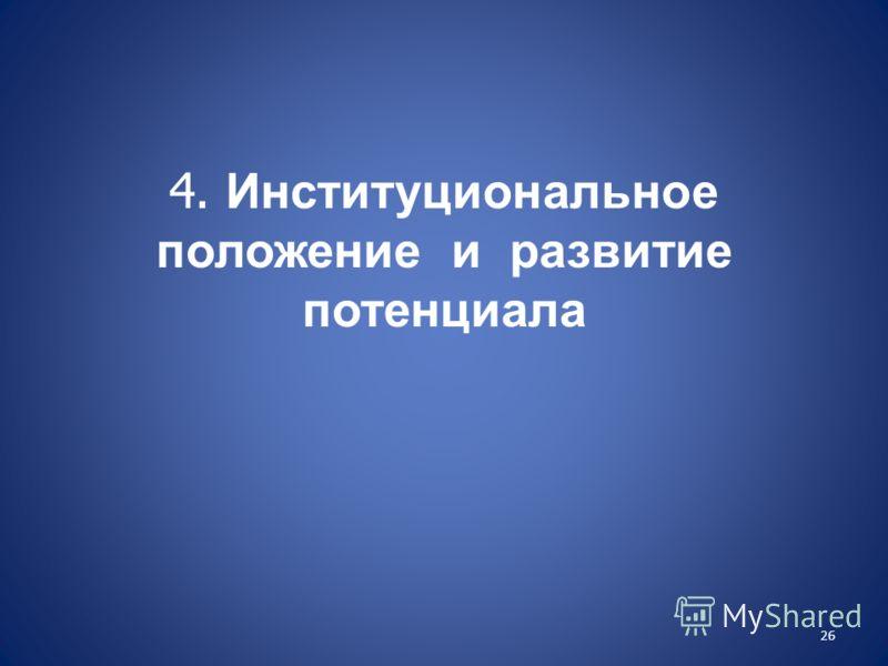4. Институциональное положение и развитие потенциала 26