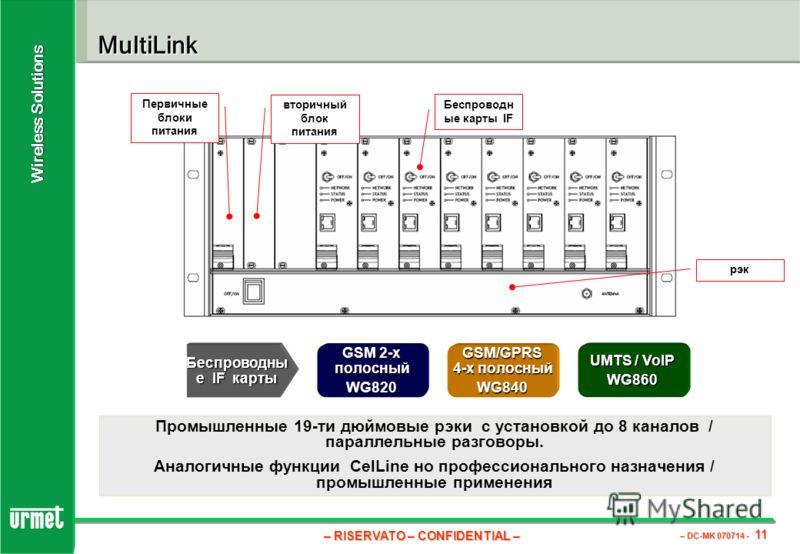 – RISERVATO – CONFIDENTIAL – – DC-MK 070714 - 11 Wireless Solutions MultiLink Промышленные 19-ти дюймовые рэки с установкой до 8 каналов / параллельные разговоры. Аналогичные функции CelLine но профессионального назначения / промышленные применения П