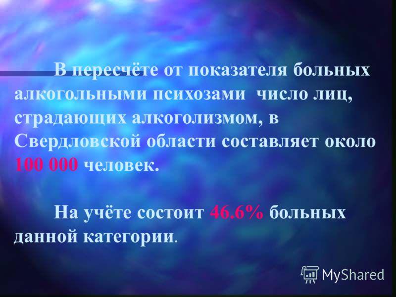 В пересчёте от показателя больных алкогольными психозами число лиц, страдающих алкоголизмом, в Свердловской области составляет около 100 000 человек. На учёте состоит 46.6% больных данной категории.